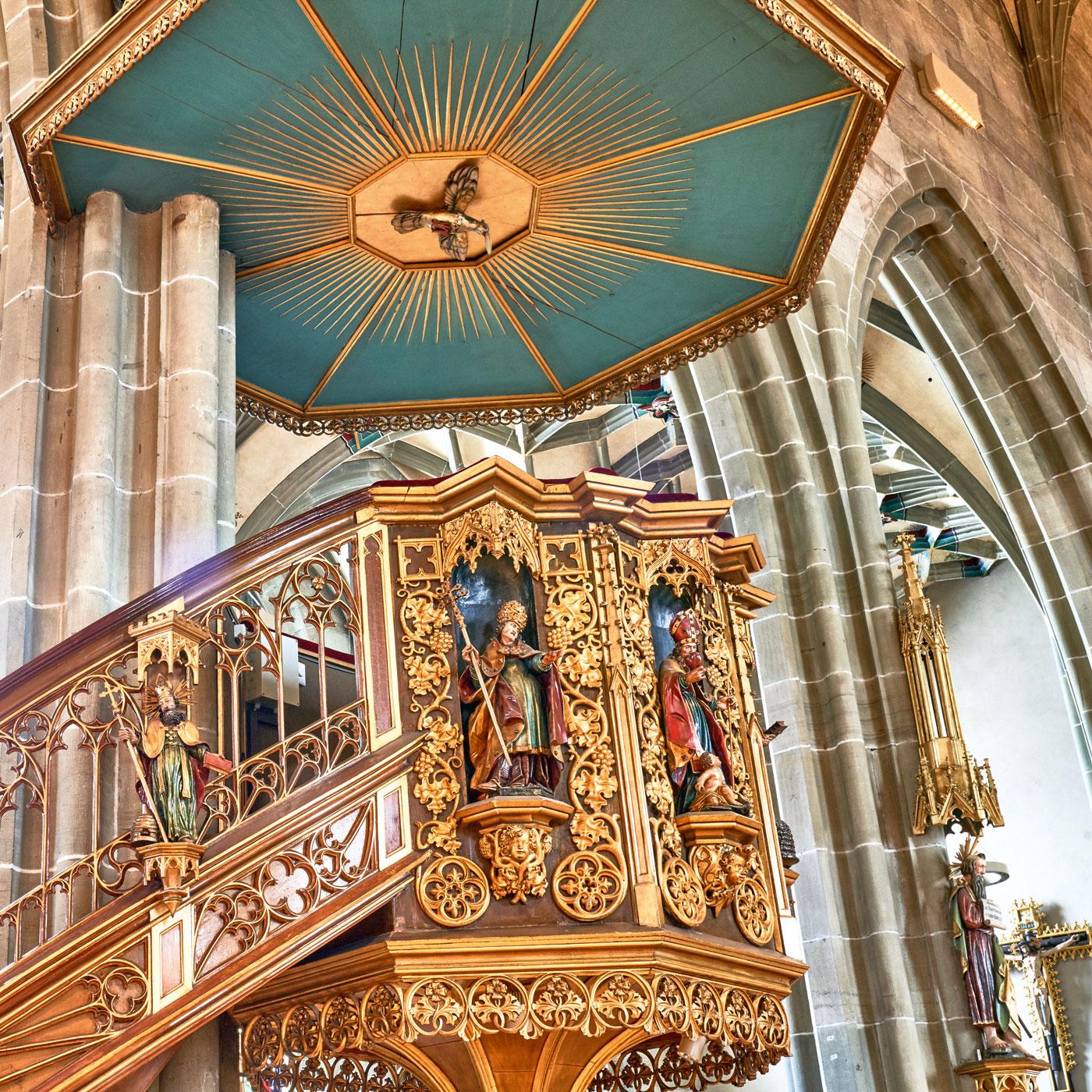 Die Kanzel im Heilig-Kreuz-Münster