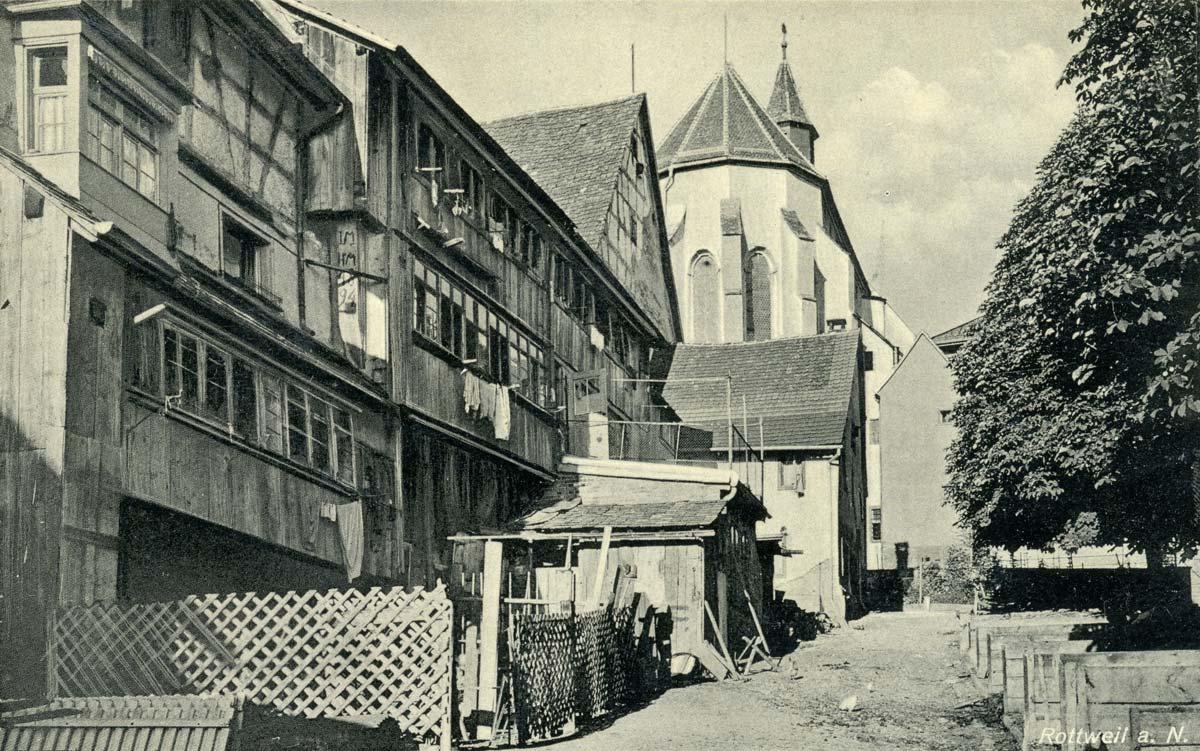 Blick vom Bockshof auf die Predigerkirche mit den angrenzenden Häusern und der Dunglege